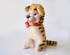 Vintage rubber face stuffed toy tiger