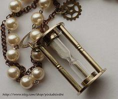 Steampunk Hour Glass necklace by Pinkabsinthe.deviantart.com