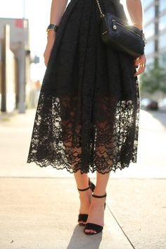 Tibi - Lace full skirt | Via: http://www.whowhatwear.com/blogs/atlantic-pacific/black