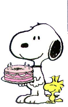 Happy Birthday - Snoopy Holdings a Pink Decorated Cake With Woodstock Standing Next to Snoopy Peanuts Gang, Peanuts Cartoon, Snoopy Party, Snoopy Clip Art, Charlie Brown Et Snoopy, Snoopy Et Woodstock, Snoopy Images, Snoopy Quotes, Snoopy Christmas
