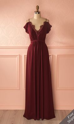 Burgundy Prom Dress,Sexy Spaghetti Straps Evening Dress,Lace Floor Length Party Dress