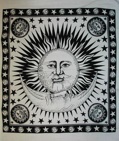 Psychedelic Celestial Sun Moon tapestry,indian sun wall hanging, beach throw