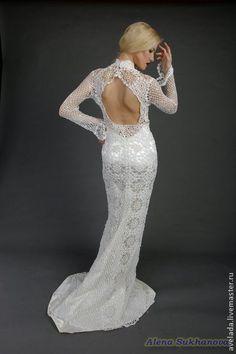 свадебное платье крючком - белый,свадьба,свадебное платье,Вязание крючком