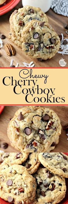 Chewy Cherry Cowboy Cookies by Renee's Kitchen Adventures cookie recipe for chewy cookies filled with chocolate, dried cherries, nuts, oats, and coconut! RKArecipes cookies is part of Cowboy cookies - Brownie Cookies, Cookie Desserts, Yummy Cookies, Chip Cookies, Just Desserts, Cookie Recipes, Delicious Desserts, Dessert Recipes, Yummy Food