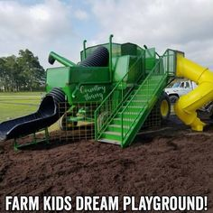 Towns and Nature: Peoria, IN: Wendel Farm's Combine Shaped Playground Equipment – Axel Mustermann – Cat playground outdoor Kids Outdoor Play, Outdoor Play Areas, Kids Play Area, Outdoor Fun, Outdoor Office, Kids Backyard Playground, Backyard For Kids, Playground Ideas, Mini Piscina