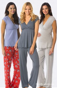 Cute, comfy and just right for 24-7 feedings. We love these nursing pjs and love to wear them all day and night long. Features a cute short sleeve v-neck top with a discreet inner nursing panel and underbust elastic for extra support that is finished with lettuce edging. Matching pants have an elastic waist and lettuce edging.