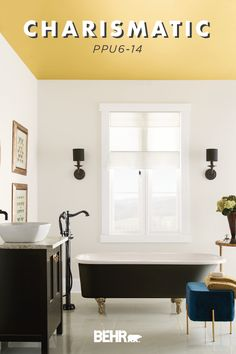 Looking for a unique way to add a modern twist to your interior design scheme? Paint your ceiling with BEHR® Paint in Charismatic. Part of the new BEHR® 2020 Color Trends Palette, it's featured here in this traditional master bathroom. Click below for more inspiration on this rich shade of yellow.