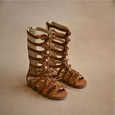Genuine leather summer brown black girls gladiator sandals boots High-top fashion Roman kids sandals toddler baby sandals shoes