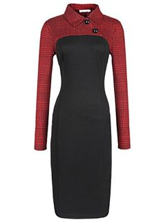 PAKULA Women's Business Long Sleeve Patchwork Gird Collar Midi Dress PAKULA http://smile.amazon.com/dp/B00P3KCAH8/ref=cm_sw_r_pi_dp_DrCGvb0D59HNE