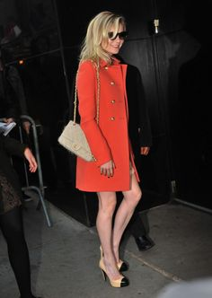 orange coat makes winter from dull to fun in seconds!