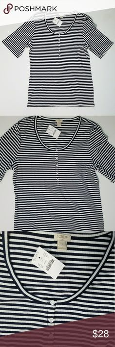 J. Crew Striped Casual Top Comfy&Casual White And Dark Navy Colored Tee From Brand J. Crew;Comes In New Condition With Tags J. Crew Tops