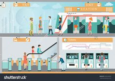 Subway train station platform with people traveling, Train ticket vending machines, Railway Map, Entrance of railway station, transportation vector illustration. Exit Tickets, Train Tickets, Plate, Illustrations, Professional Business Cards, Kid Spaces, Train Station, Vending Machines, Signage