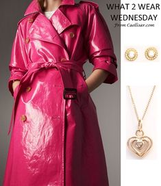 Trend: Patent trench coats.  Style the look with these 18k Yellow Gold Stud Earrings and 10k Diamond Heart Charm and Chain.