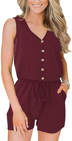 Amazon.com: ANRABESS Women's V Neck Sleeveless Button Down Elastic Waist Casual Romper Jumpsuits with Pockets A220shenhong-L 20 Dark Red: Clothing Rompers Women, Jumpsuits For Women, Women's Rompers, Casual Clothing Stores, Red Clothing, Playsuit, Casual Outfits, Easy Dress, Summer Romper