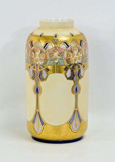 French Art Deco Limoges Porcelain Vase. Gilt and hand painted decoration, PL…