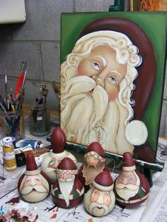 Santa Claus Folk Art Gourd Painting-love the santa on canvas in the back!!!