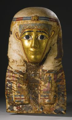 An Egyptian Polychrome Cartonnage Mummy Mask, Late Ptolemaic Period, circa 100-30 B.C.