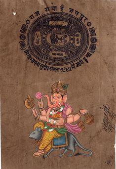 Ganesha Mouse Vahana Painting Handmade Indian Miniature Ethnic Ganesh Hindu Art Ganesha Pictures, Lion Art, Elephant Head, Hindu Art, Beautiful Artwork, Handmade Art, Indiana, Folk Art, Miniatures