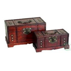 Antique Wooden Trunk, Old Treasure Chest Set of 2,$38.49