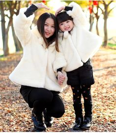Family clothes Mother and daughter Princess fur coat girl winter jackets fashion sweet style outerwear Family Matching Outfits
