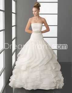 Glorious Strapless A-line Tiered  Chapel Lace Emellishing  Wedding Dresses 2014 New Style