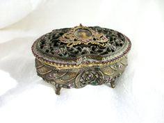 Vintage Jewelry Casket - Purple Rhinestone - Box - Beautiful - Lift off Lid