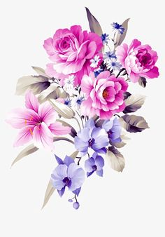 Hand-painted bouquets, Hand-painted Flowers, Flowers, Plant PNG and PSD Illustration Art Dessin, Illustration Blume, Floral Illustrations, Art Floral, Bunch Of Flowers, Purple Flowers, Flower Frame, Flower Art, Beautiful Flowers Wallpapers