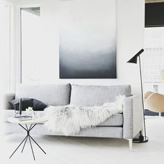 The beautiful Norwegian home of @stylizimoblog high up on a hill. Full tour on the blog today (link in bio). @stylizimoblog. Art for sale through @stylizimoblog. #Sittingroom #art #sofa #Norway #scandinavianhometour #Norwegianhome