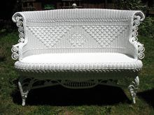 Rare Ornate Antique Victorian Wicker Settee Circa 1890's