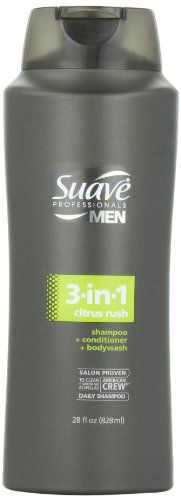 Suave Professionals mens, shampoo/conditioner/body wash, 3 in 1, citrus rush, 28oz - Suave Professionals mens, shampoo/conditioner/body wash, 3 in 1, citrus rush, 28oz  List Price: $3.93   This dual-action formula provides deep cleaning and works on both your hair plus body, so you can get in and out of the shower quickly Fresh, invigorating and masculine citrus scent Salon proven to clean hair as well as American crew daily shampoo Made in USA    List Price: $3.93 Your Price