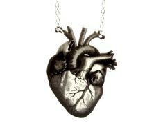 Black Heart Necklace Anti Valentines Day Anatomical Anatomy Statement Jewelry Vintage Illustration Love Customizable on Etsy, $26.00