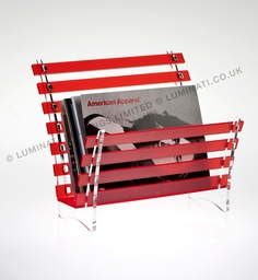 Modern design magazine rack in contemporary coloured acrylic from the UK specialists in acrylic design and manufacture, Luminati.co.uk.