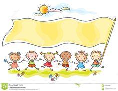 Kids holding a big flag with a copy space Illustration , Happy Cartoon, Cartoon Kids, Cartoon Paper, Happy Kids, Free Vector Art, Clipart, Preschool Activities, Design Bundles, Art For Kids