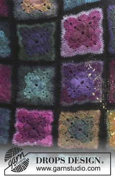 """Heartland - Crochet DROPS blanket with Granny squares in """"Delight"""" and """"Fabel"""". - Free pattern by DROPS Design"""