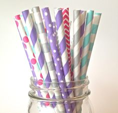 Kids Birthday Straws, Snow Princess Party Decor, Purple Pink Straws Silver Turquoise & Lavender Multi-Pack Paper Straws, Teal Birthday party by Twigsandtwirlsllc on Etsy https://www.etsy.com/listing/204749473/kids-birthday-straws-snow-princess-party