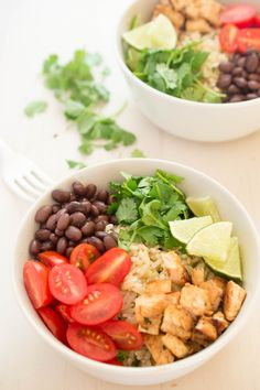 Cilantro Lime rice and chipotle chicken bowl. Healthy twist on a fast food favorite   chefsavvy.com #healthy #dinner #lunch #fresh
