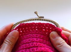The following tutorial is to show you how to attach crochet onto a frame. This is a traditional Japanese way of sewing on to the frames.  This will apply to all the sew-on purse frames whether it is knitted, crochet or fabric purses.