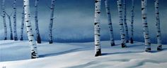 """Snowy Blue Birch"" by ~CES~ Christine Striemer"