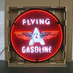 Neon Sign in Metal Can - Flying Gasoline 36 Inch – Oldies of Usa Partners