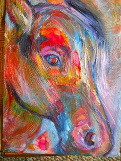 rich colors and textures in an abstract painting on hardboard.
