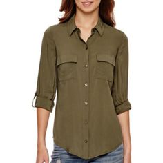 a.n.a® 3/4-Sleeve Flap-Pocket Shirt  found at @JCPenney