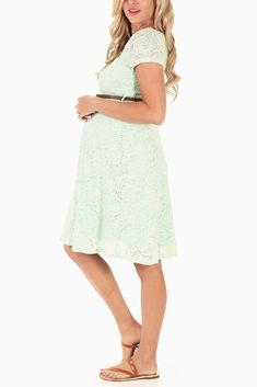 Mint-Green-Lace-Belted-Maternity-Dress. Too light?