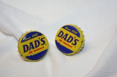 Handcrafted Cuff Links - Dad's Root beer Cap with 24 ct Gold Plated Knurled Posts by Witmer Enterprises, $15.00 at witmerenterprises.com and also @Etsy