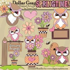 Spring Owls 1 - $1.00 : Dollar Graphics Depot, Your Dollar Graphic Store