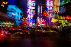 NYC Times Square at Night Photography Light Trails by Orlansky
