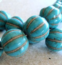 turquoise carved melon beads