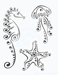 Nautical doodles, would be perfect to put on a scrap book page with photos of Cali at the beach! quilling coloring pages Stock Photo Doodle Art, Zen Doodle, Doodle Drawings, Star Doodle, Doodles Zentangles, Zentangle Patterns, Doodle Patterns, Jellyfish Tattoo, Jellyfish Quotes