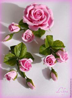 Купить Зажим с бутонами роз - розовые розы, розы, бутоны роз, заколка с розами
