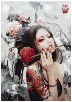 Geisha painting wallpaper for sony xperia tablet z. Wallpaper Für Desktop, Painting Wallpaper, Girl Wallpaper, Wallpapers, Desktop Backgrounds, Bokeh, Graffiti, Tattoo Background, Multimedia Artist