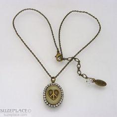 Liz Palacios Brass Swarovski Crystal Heart Peace Charm Pendant Necklace SuzePlace.com